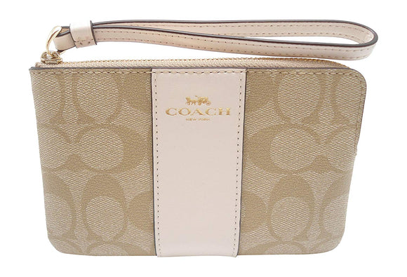 Corner Zip Wristlet In Signature Coated Canvas With Leather Stripe (Coach F58035) Womens Wallets Coach