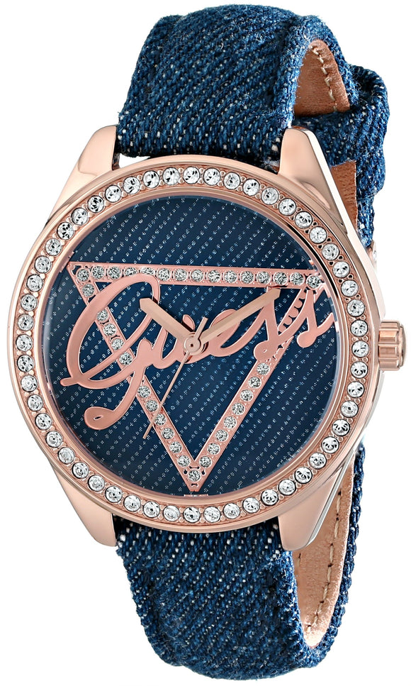 Guess Women'S U0456L6 Iconic Blue Logo Watch With Blue Denim Leather Strap & Rose Gold-Tone Case Womens Watches Guess