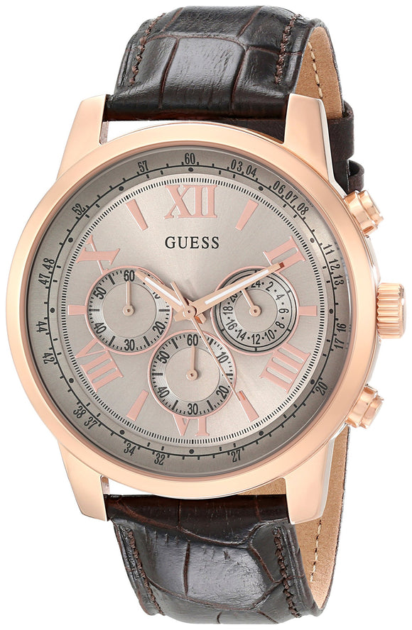 Guess Men'S U0380G4 Chronograph Brown Watch With Rose Gold-Tone Case & Genuine Leather Womens Watches Guess