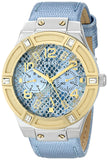 Guess Women'S U0289L2 Ice Blue Python Print Multifunction Watch Womens Watches Guess