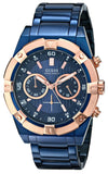 Guess Men'S U0377G4 Sporty Blue Stainless Steel Multi-Function Watch With Chronograph Dial And Deployment Buckle Mens Watches Guess