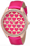 Guess Women'S U0535L1 Pink Heart Watch With Rose Gold-Tone Case & Genuine Patent Leather Strap Womens Watches Guess