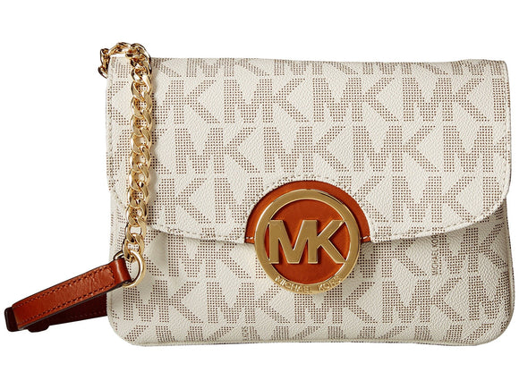 Michael Kors Fulton Logo Crossbody Vanilla Flap Gusset Purse Hand Bag Womens Handbags Michael Kors