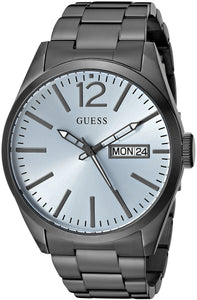 Guess Men'S U0657G1 Vintage Inspired Grey Watch With Sky Blue Dial, Day & Date Functions Mens Watches Guess