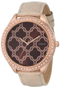 Guess Women'S U0579L2 Rose Gold-Tone Watch With Brown Dial & Genuine Leather Strap Womens Watches Guess