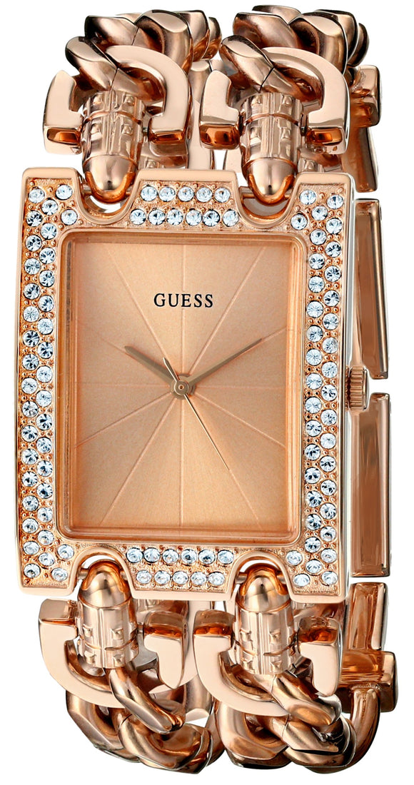 Guess Women'S U0072L3 Brilliance On Links Crystal Rose Gold-Tone Bracelet Watch Womens Watches GUESS