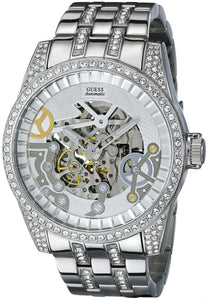 Guess Men'S U0012G1 Exhibition Automatic Silver-Tone Watch Mens Watches Guess