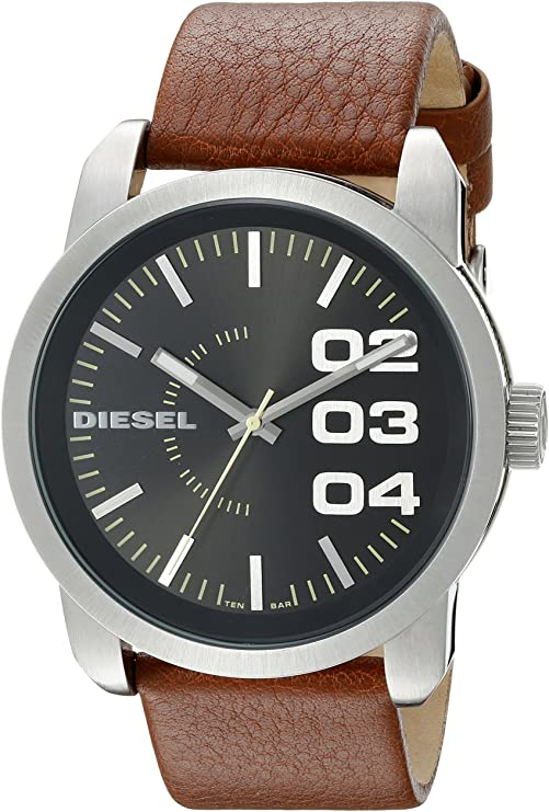 Diesel Black Dial Tan Leather Strap Mens Watch DZ1513