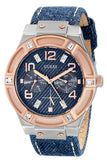 Guess Women'S U0289L1 Silver And Rose Gold-Tone Multi-Function Watch With Denim Strap Womens Watches Guess