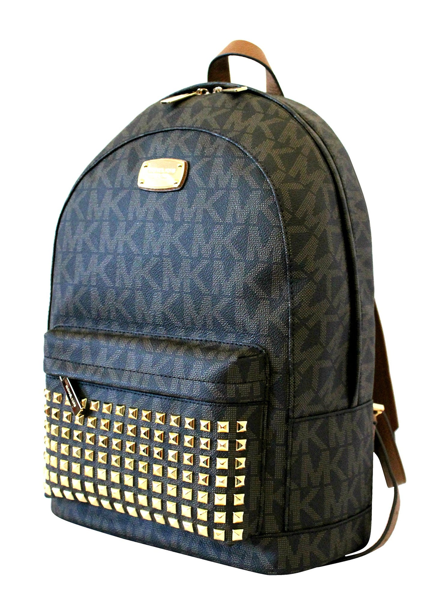 125864bf9334 Michael Kors Large Backpack Printed Mk Studded Jet Set - Watchcove