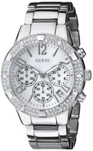 Guess Women'S U0141L1 Dazzling Silver-Tone Sporty Crystal Chronograph Watch Womens Watches Guess