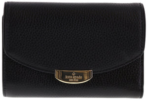 Kate Spade WLRU2605 New York Mulberry Street Callie Pebbled Leather Wallet (Black) Womens Wallets Kate Spade