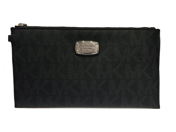 Michael Kors Jet Set Item Large Pvc Top Zip Clutch & Wristlet (Black) Womens Wallets Michael Kors