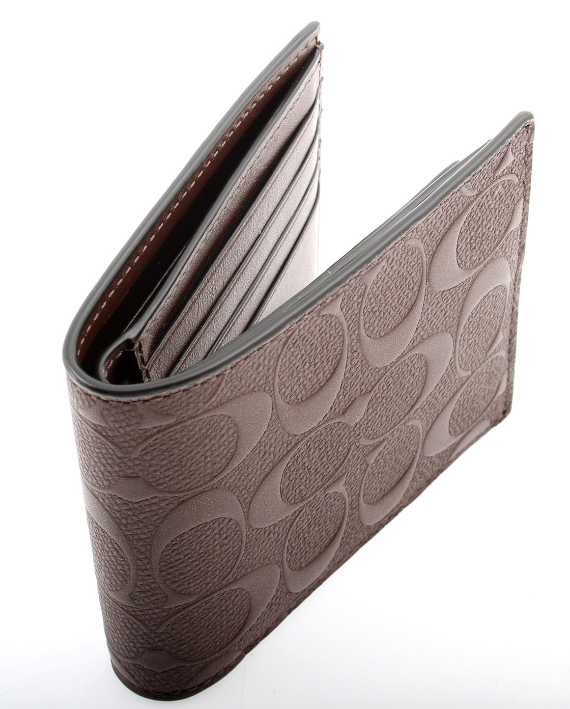 Compact Id Wallet In Signature Crossgrain Leather (Coach F75371) Mahogany Mens Wallets Coach