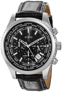 Guess Men'S U0500G2 Stainless Steel Chronograph Watch With Black Genuine Leather Strap & Date Function Womens Watches Guess