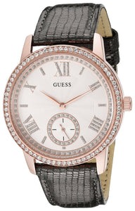 Guess Women'S U0642L3 Classic Grey Watch With Genuine Leather Strap Womens Watches Guess