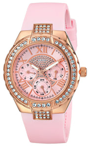 Guess Women'S U0300L3 Mid-Size Multi-Function Pink Silicone Watch With Rose Gold-Tone Case & Genuine Crystal Accents Womens Watches Guess