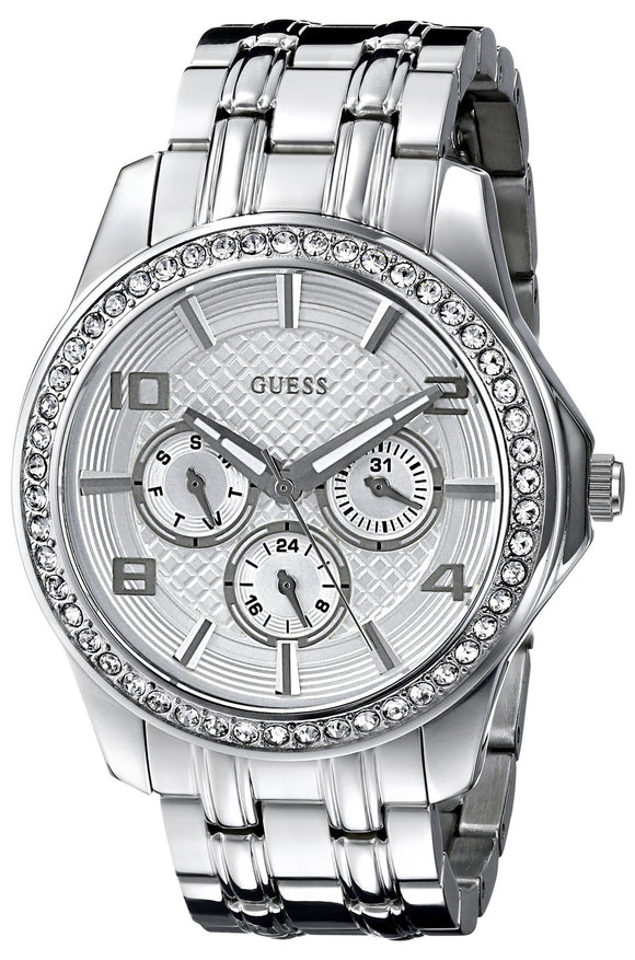 Guess Women'S U0147L1 Polished Glamour Silver-Tone Crystal Watch Womens Watches Guess