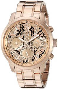 Guess Women'S U0330L16 Rose Gold-Tone Multi-Function Watch With Python Print Dial Womens Watches Guess
