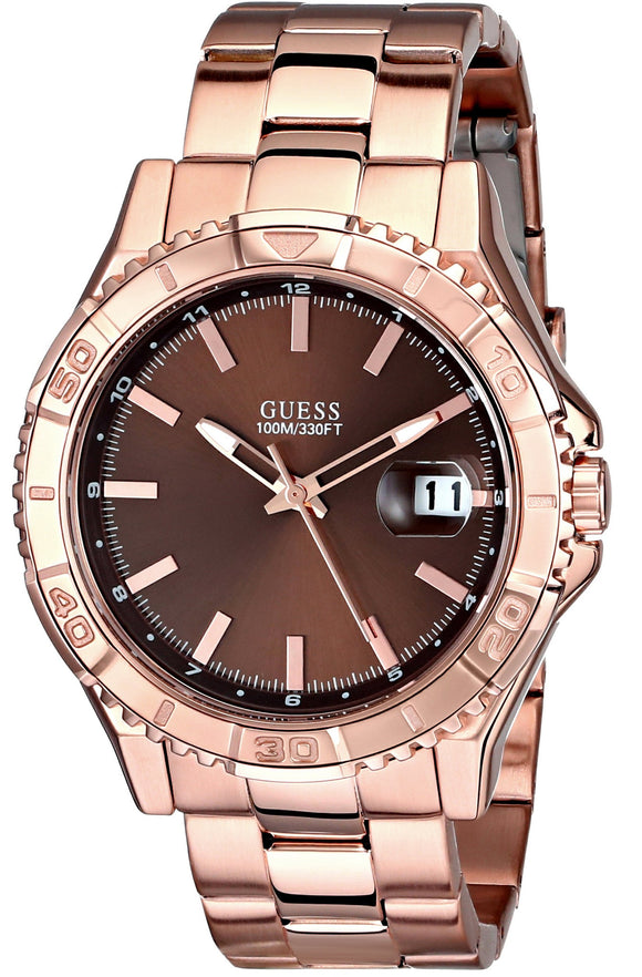 Guess Men'S U0244G6 Classic Rose Gold-Tone Watch With Brown Dial Mens Watches Guess
