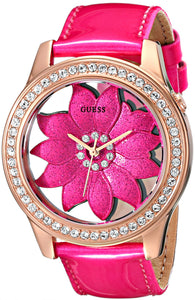 Guess Women'S U0534L3 Pink Floral Watch With Rose Gold-Tone Case & Genuine Patent Leather Strap Womens Watches Guess