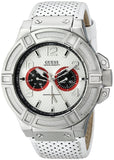 Guess Men'S U0451G1 Rigor Sporty Multi-Function White Genuine Leather Watch With Navy Blue & Red Accents Mens Watches Guess
