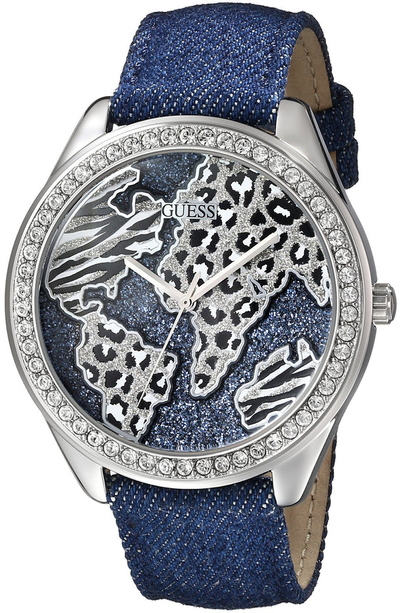 Guess Women'S U0504L1 Iconic Blue Denim Silver-Tone Watch With Wold Map Womens Watches Guess