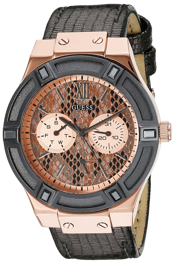 Guess Women'S U0289L4  Rose Gold-Tone Multi-Function Watch With Grey Python Dial Womens Watches Guess