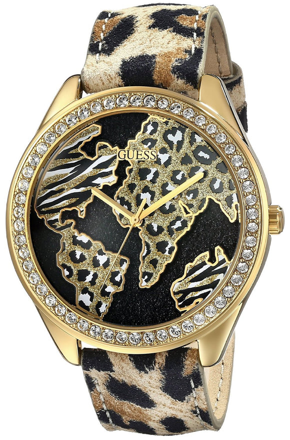 Guess Women'S U0504L2 Animal Print Gold-Tone Watch With World Map Womens Watches Guess