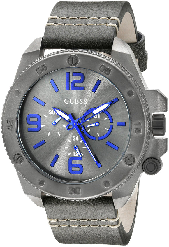 Guess Men's U0659G3 Fashionable Gunmetal-Tone Stainless Steel Watch With Grey Leather Band Mens Watches GUESS