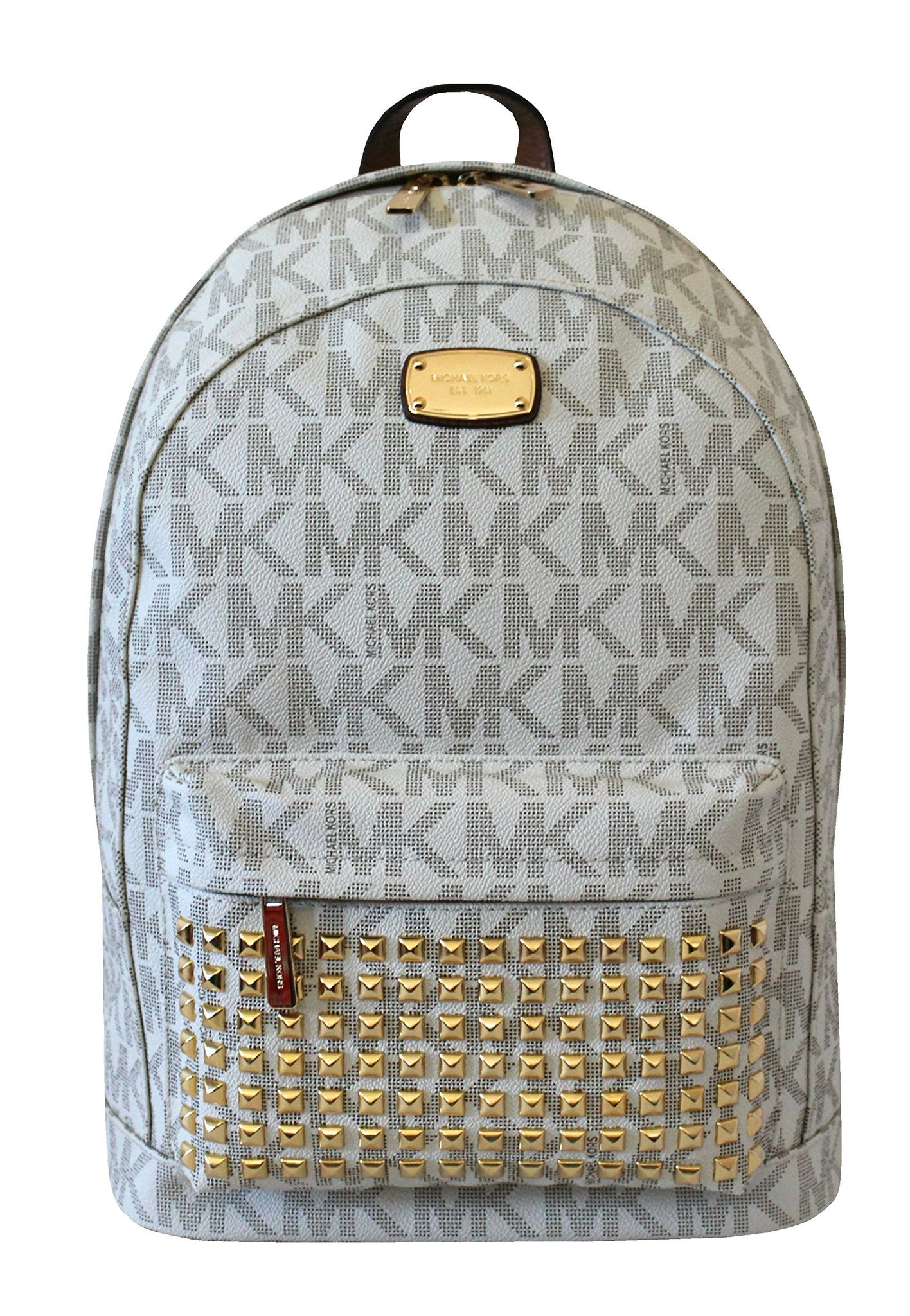 95961d6556ffd0 closeout michael michael kors large printed mk studded jet set item  backpack vanilla 6862b ab444