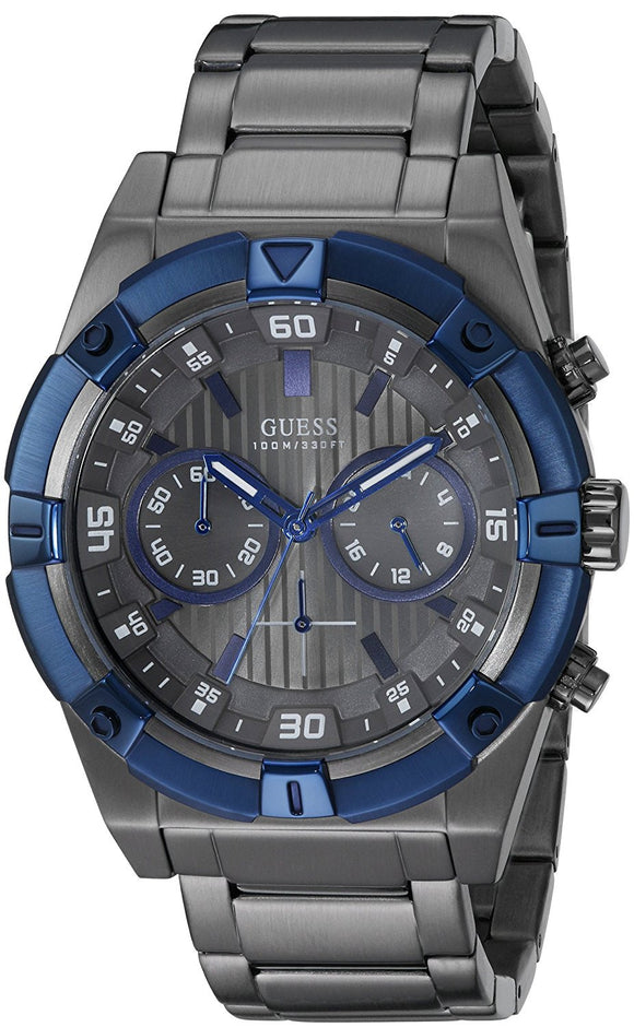 Guess Men'S U0377G5 Grey Chronograph Watch With Iconic Blue Top Ring Mens Watches Guess
