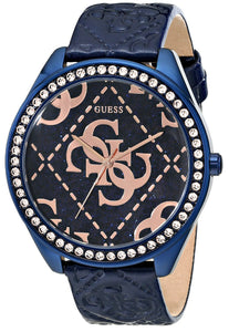 Guess Women'S U0473L1 Iconic Blue & Rose Gold-Tone Watch With Blue Logo Embossed Genuine Patent Leather Strap Womens Watches Guess