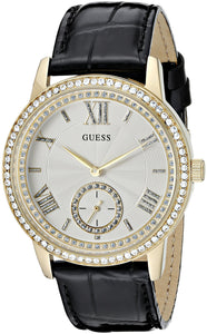 Guess Women'S U0642L2 Elegant Black & Gold-Tome Watch With Genuine Crystals Womens Watches Guess
