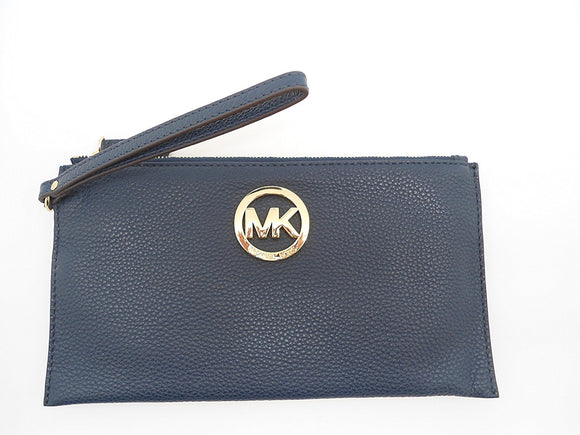 Michael Kors Fulton Lg Zip Clutch Navy Leather Jewlery Michael Kors