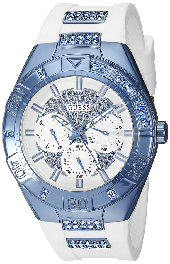 Guess Women'S U0653L2 Sporty White Silicone Watch With Sky Blue Accents And Multi-Function Dial Womens Watches Guess