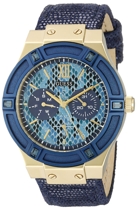 Guess Women's U0289L3 Iconic Indigo Blue & Gold-Tone Multi-Function Watch Womens Watches GUESS