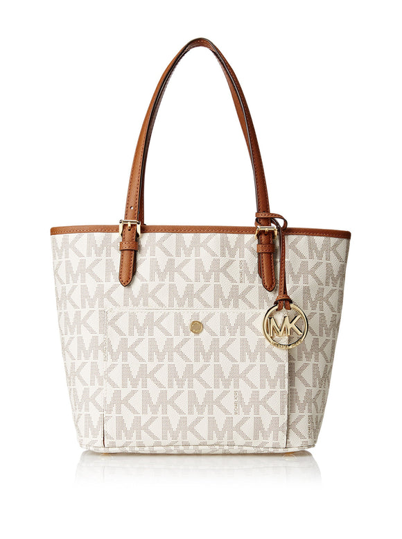 Michael Kors Jet Set Travel Medium Vanilla Tote Shoulder Handbag 30T4Gttt6B New Womens Handbags Michael Kors