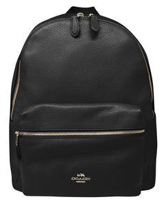 Charlie Backpack In Pebble Leather (Coach F38288)  Gold/Black Mens Backpacks Coach