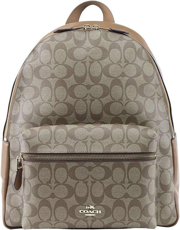 Charlie Backpack In Signature (Coach F58314)  Gold/Khaki/Saddle Mens Backpacks Coach