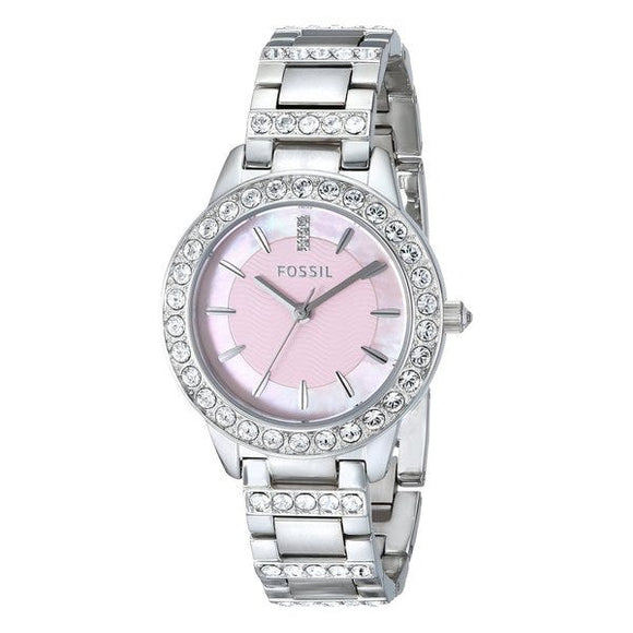 Fossil Women's ES2189 Jesse Silver-Tone Stainless Steel Watch with Pink Dial and Link Bracelet Womens Watches Fossil