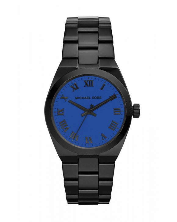 Michael Kors Channing Blue Dial Black Ion-Plated Watch Mk5993 Womens Watches Michael Kors