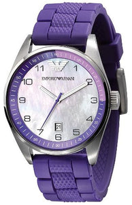 Emporio Armani Womans Purple Silicone Watch AR5881 Womens Watches Emporio Armani