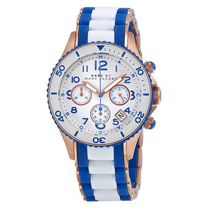 Marc Jacobs MBM2594 Rock 40MM Women's White Blue Stainless Steel Silicone Watch Womens Watches Marc by Marc Jacobs