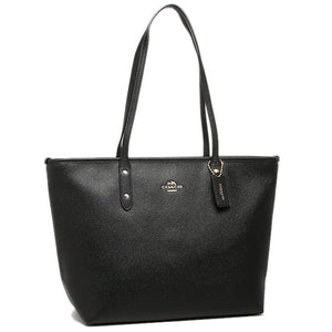 City Zip Tote In Crossgrain Leather (Coach F58846)  Gold/Black Womens Handbags Coach
