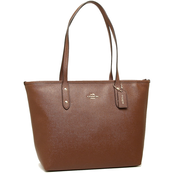 City Zip Tote In Crossgrain Leather (Coach F58846)  Saddle Womens Handbags Coach