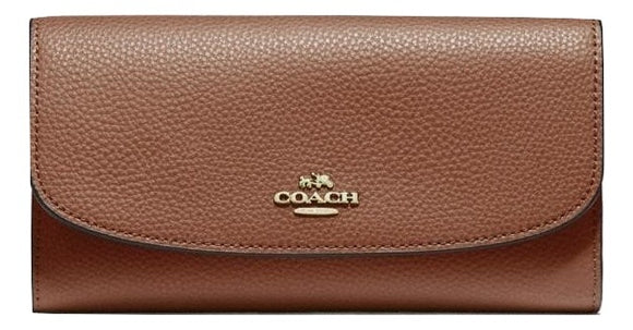 Checkbook Wallet In Polished Pebble Leather (Coach F16613)