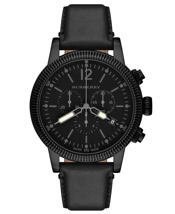 Burberry Swiss Chronograph Black Leather Strap Watch BU7827