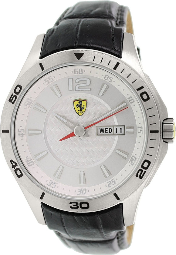 Ferrari 0830092 Black Leather Silver Dial Date & Day Men's Watch Mens Watches Ferrari