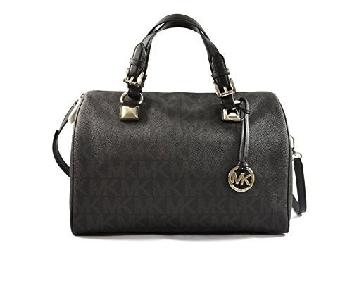 Michael Michael Kors Womens Grayson Faux Leather Satchel Handbag Black Large Womens Handbags Michael Kors